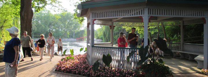 People enjoying the Rotary Botanical Gardens' gazebo area