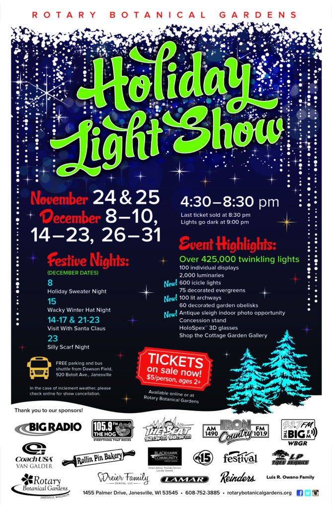HLS 2017 11x17 with sponsors 300ppi 668x1024 - Holiday Light Show Rotary Botanical Gardens December 22