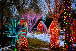 Rotary Botanical Gardens decorated and lit up for the holidays