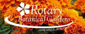 Marigold banner with Rotary Botanical Gardens logo